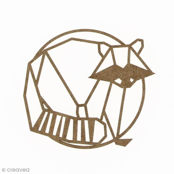 Raton laveur géométrique en bois à décorer - 9 cm - Photo n°1