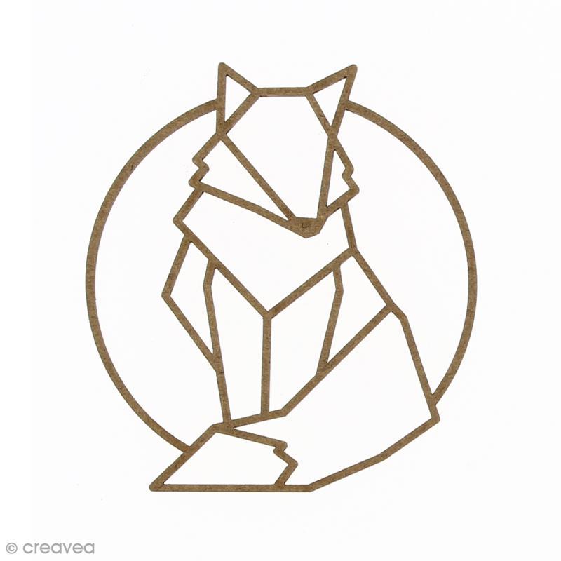 Renard géométrique en bois à décorer - 9 cm - Photo n°1