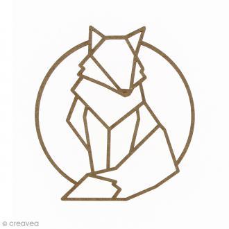 Renard géométrique en bois à décorer - 9 cm