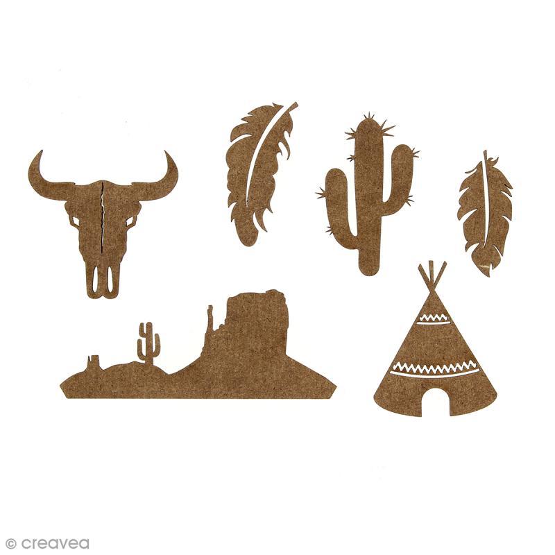 set de mini formes en bois plumes crane de taureau cactus tipi et paysage grand ouest 6. Black Bedroom Furniture Sets. Home Design Ideas