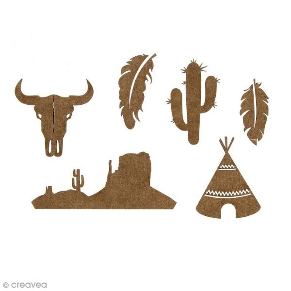Set de mini formes en bois plumes, crane de taureau, cactus, tipi et paysage - Grand Ouest - 6 pcs - Photo n°1