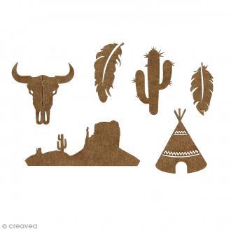 Set de mini formes en bois plumes, crane de taureau, cactus, tipi et paysage - Grand Ouest - 6 pcs