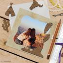 Set de mini formes en bois plumes, crane de taureau, cactus, tipi et paysage - Grand Ouest - 6 pcs - Photo n°2