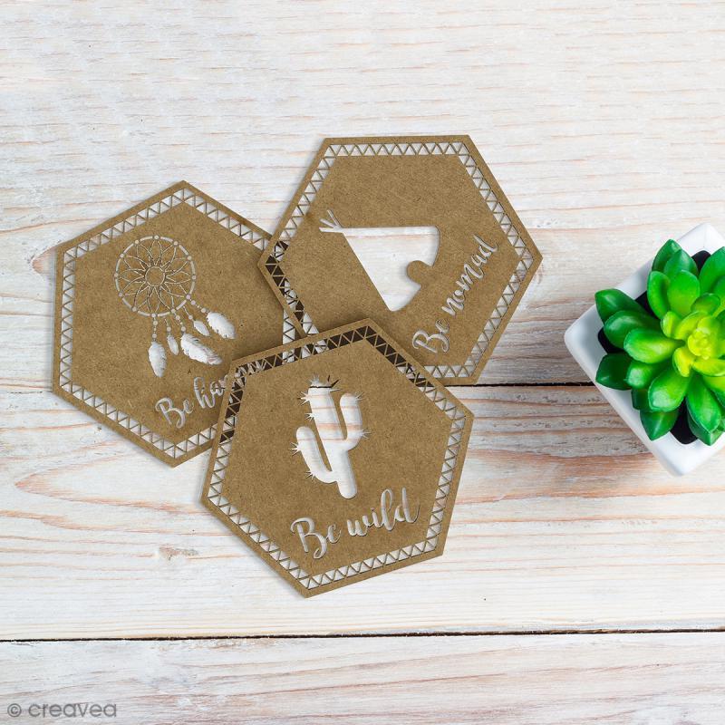 Set Formes hexagonales en bois - Grand Ouest - 9 pcs - Photo n°2