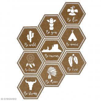 Set Formes hexagonales en bois - Grand Ouest - 9 pcs