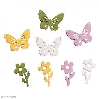 Set de miniatures en bois - Fleurs et papillons - 20 pcs environ
