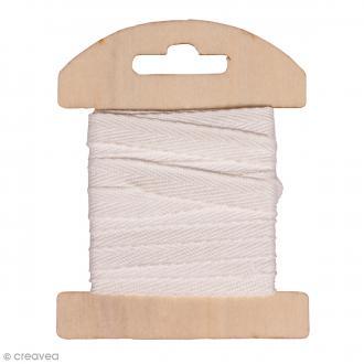 Ruban en coton Blanc - 1 cm x 3 m