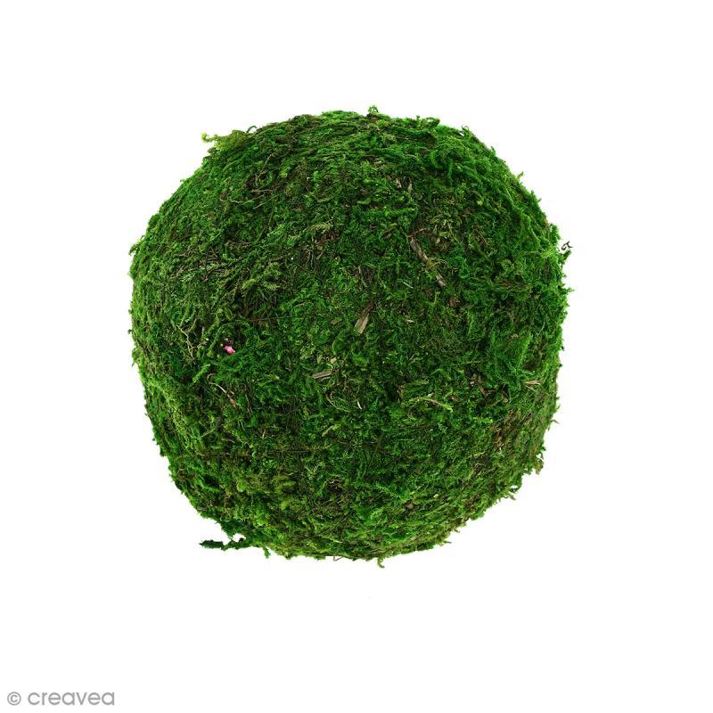 Boule de polystyr ne avec mousse 10 cm mousse et lichen stabilis creavea - Boule de polystyrene ...