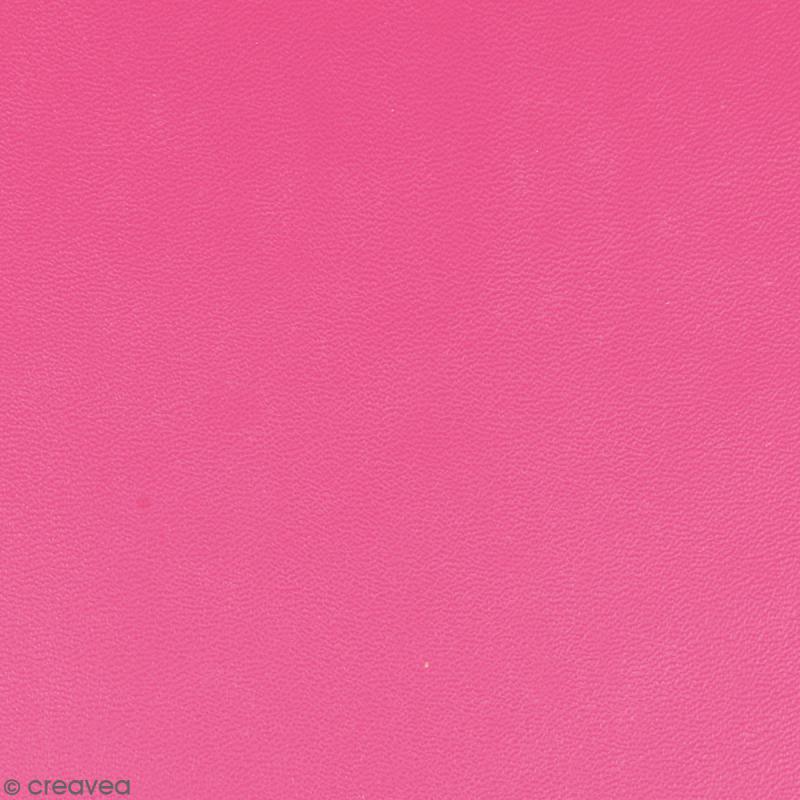 Feuille simili cuir - Rose fuchsia - 30 x 30 cm - Photo n°1