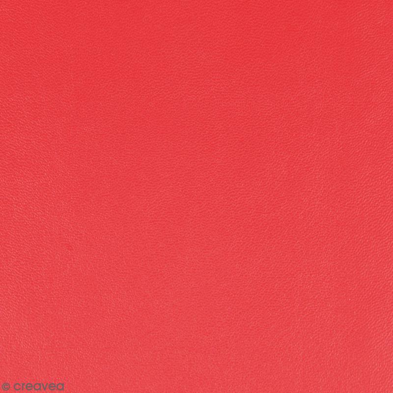 Feuille simili cuir - Rouge - 30 x 30 cm - Photo n°1
