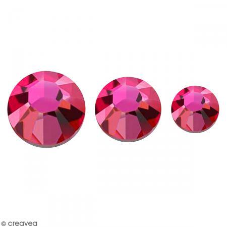 Strass pierres à coller - 3 tailles - Rose - 150 pcs environ - Photo n°1