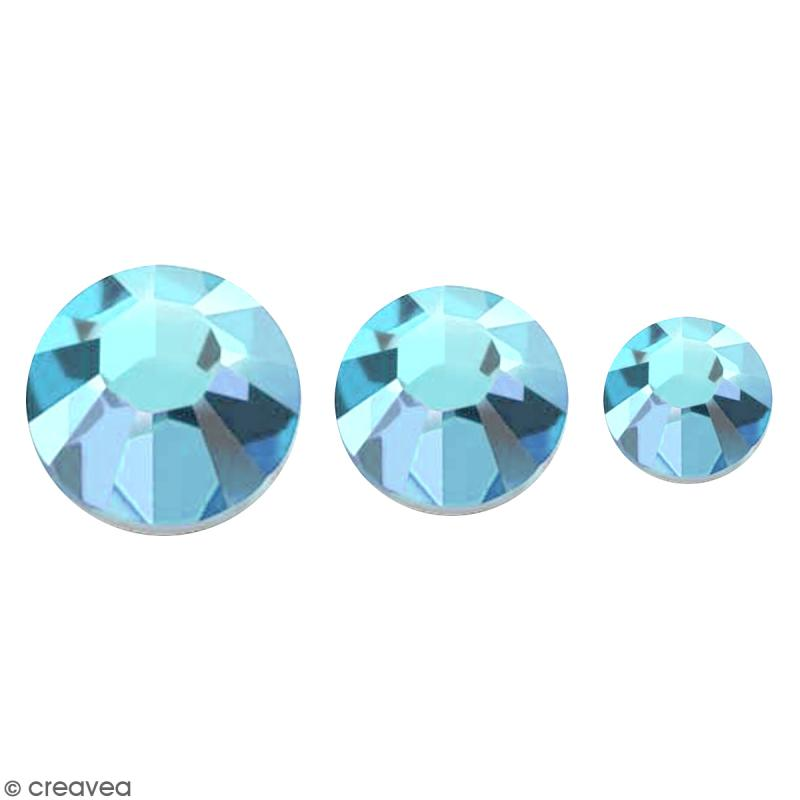 Strass pierres à coller - 3 tailles - Bleu Turquoise - 150 pcs environ - Photo n°1