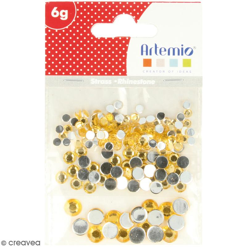 Strass pierres à coller - 3 tailles - Doré - 150 pcs environ - Photo n°2