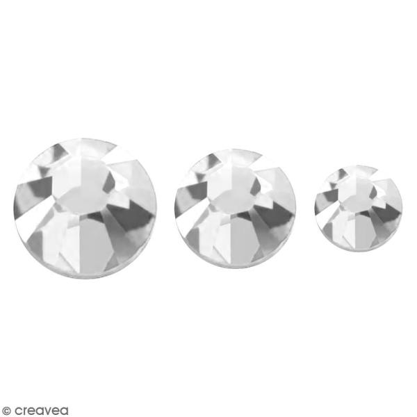 Strass pierres à coller - 3 tailles - Argenté - 150 pcs environ - Photo n°1