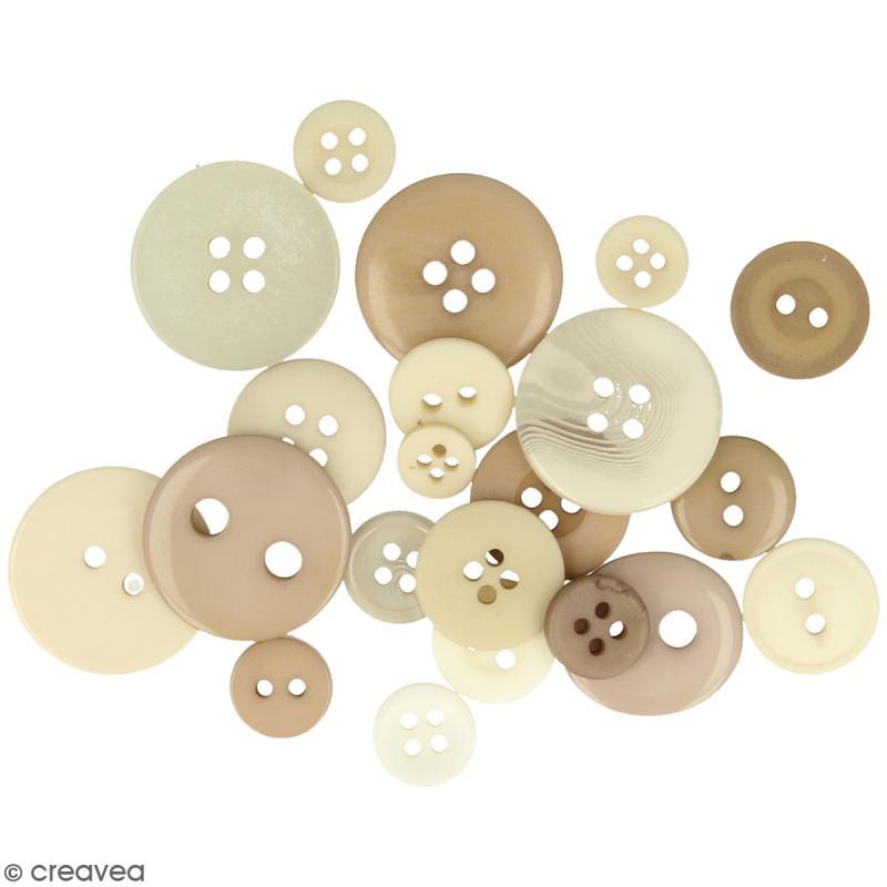 Assortiment de boutons - Différentes tailles - Brun naturel - 200 pcs environ - Photo n°1