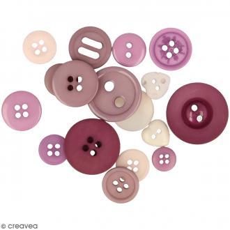 Assortiment de boutons - Différentes tailles - Camaïeu de Violet - 200 pcs environ
