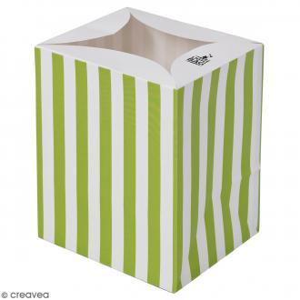 Lanterne en papier non inflammable - Rayures vertes