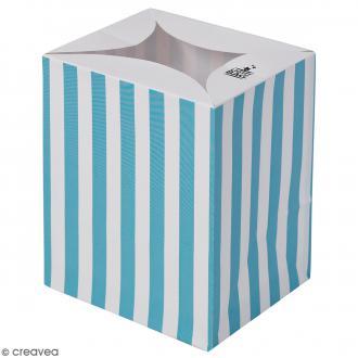 Lanterne en papier non inflammable - Rayures bleues