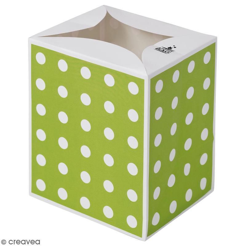 Lanterne en papier non inflammable pois blancs sur fond vert lanterne en papier creavea - Lanterne en papier ...