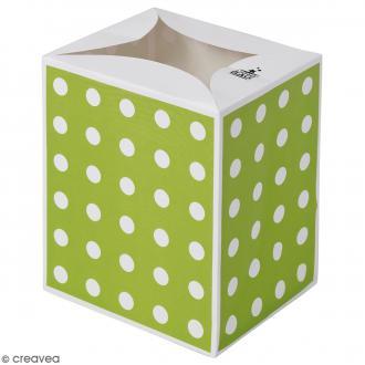 Lanterne en papier non inflammable - Pois blancs sur fond vert