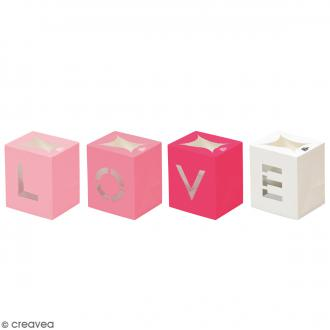 Lot de lanternes en papier non inflammable - LOVE rose - 4 pcs