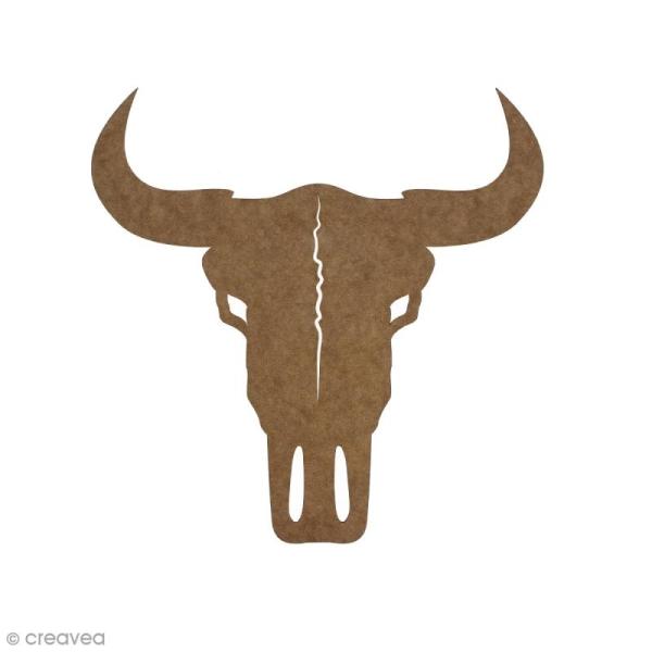 Crâne de taureau en bois à décorer - 15 cm - Photo n°1
