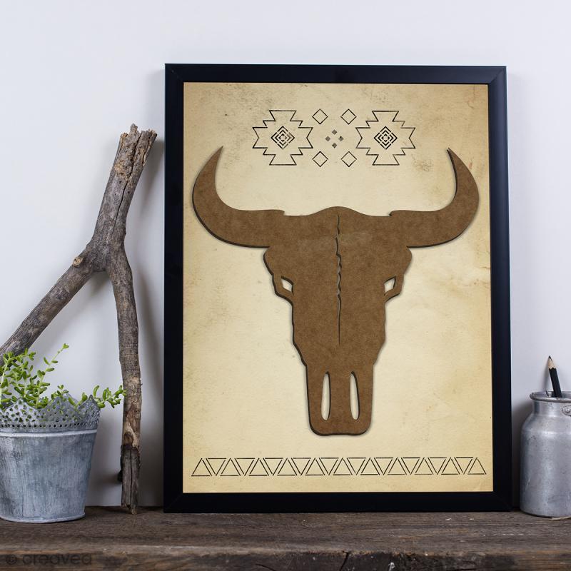 Crâne de taureau en bois à décorer - 30 cm - Photo n°2