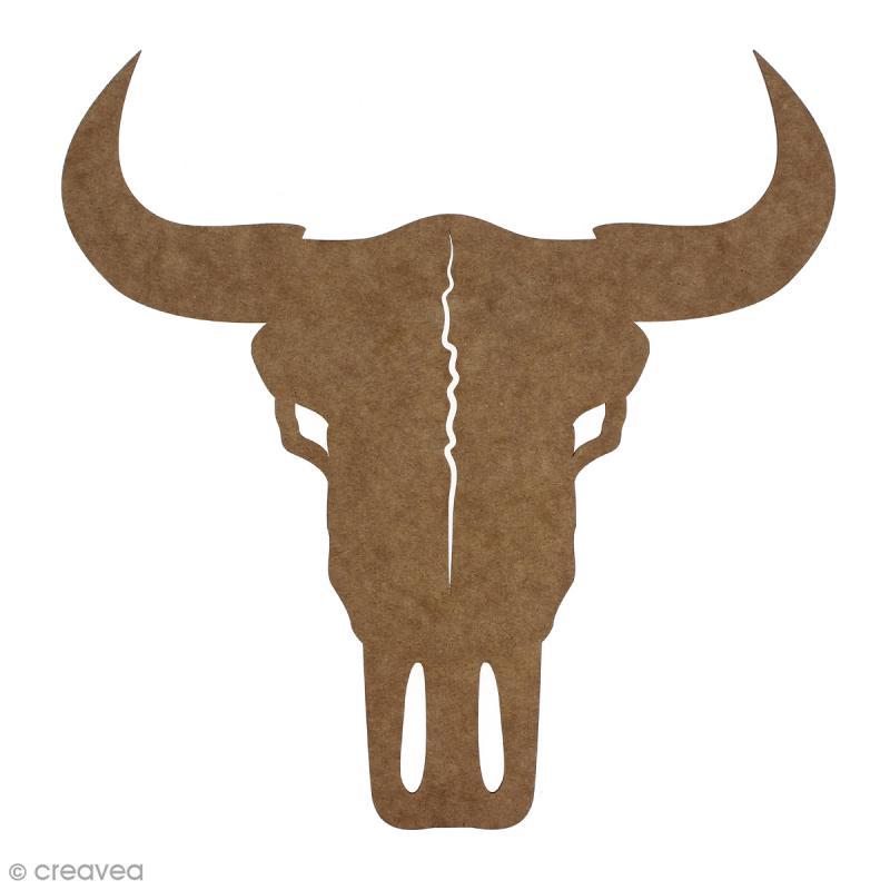 Crâne de taureau en bois à décorer - 30 cm - Photo n°1