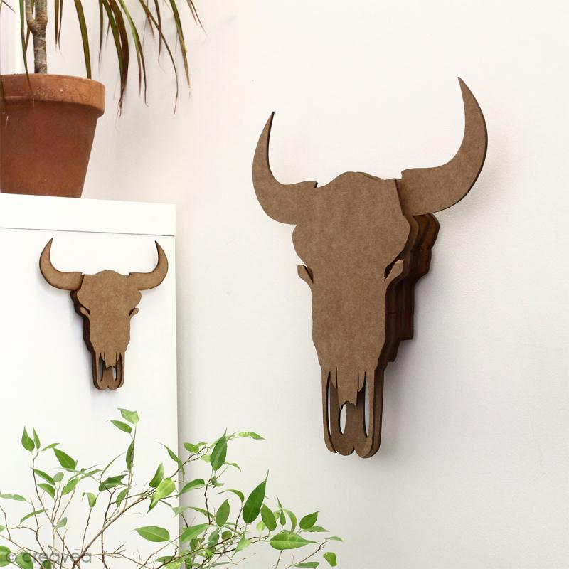 kit cr ne de taureau 3d 15 cm monter silhouette. Black Bedroom Furniture Sets. Home Design Ideas