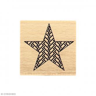 Tampon bois Etoile graphique - 5 x 5 cm