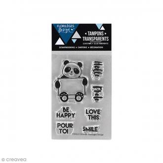 Tampons clear Florilèges Design - Pandadorable - 7 tampons