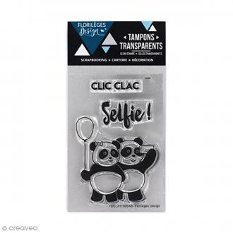 Tampons clear Florilèges Design - Selfie pandas - 3 tampons