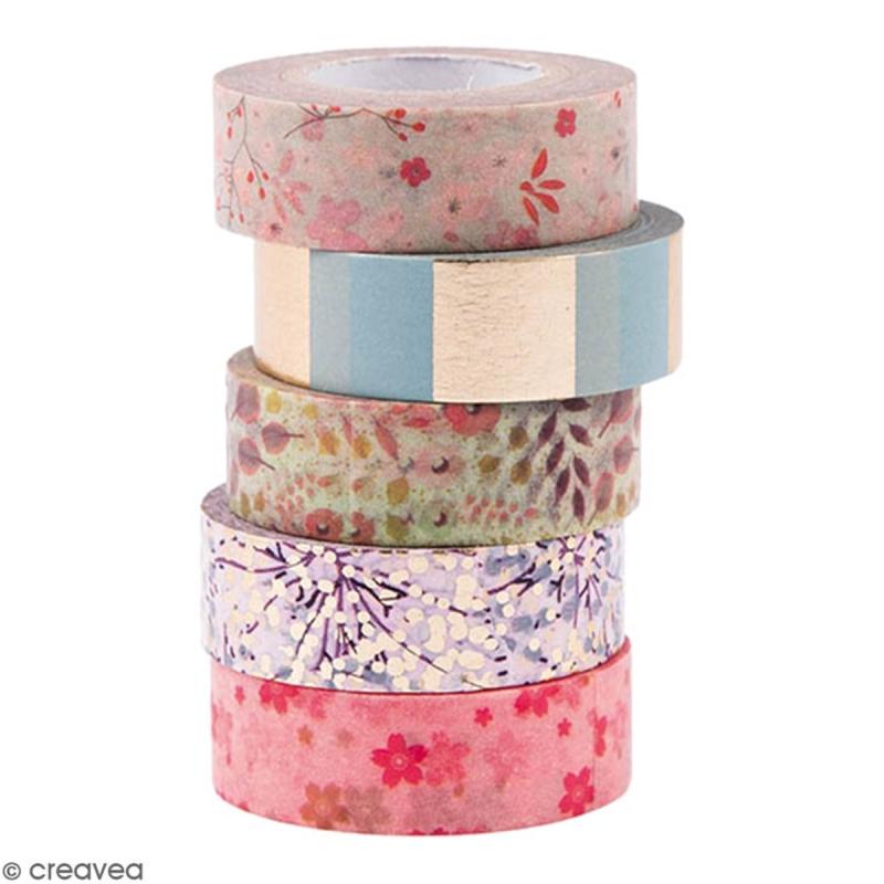 Assortiment Masking Tape - Bouquet Sauvage - 1,5 cm x 10 m - 5 pcs - Photo n°1