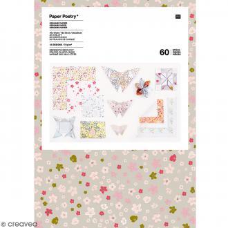 Papier origami - Bouquet Sauvage - 3 tailles - 60 feuilles