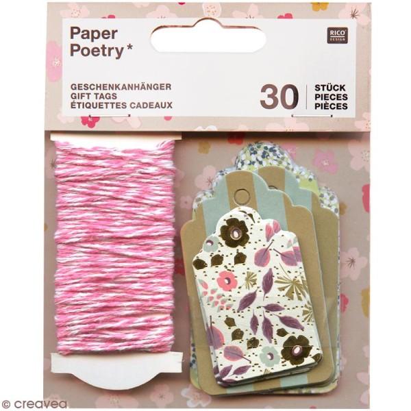 Étiquettes cadeaux et ficelle twine - 30 pcs - Photo n°1