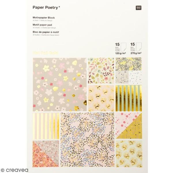 Bloc papier scrap à motif - Hot Foil Gold - Bouquet Sauvage - 30 feuilles - Photo n°1