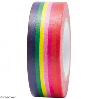 Masking tape Semi transparent - Rayures - Magical Summer - 1,5 cm x 10 m