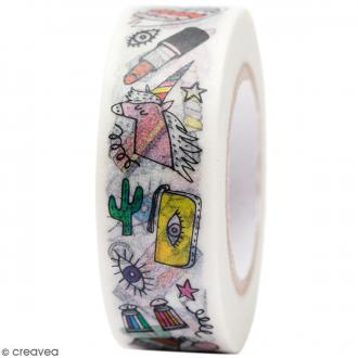 Masking tape Semi transparent - Illustrations - Magical Summer - 1,5 cm x 10 m
