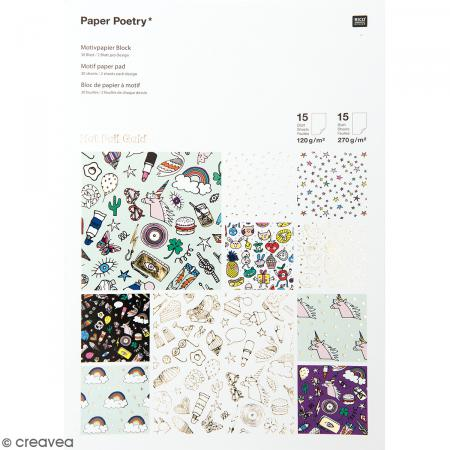 Bloc papier scrap à motif - Hot Foil Gold - Magical Summer - 30 feuilles - Photo n°1