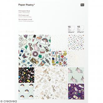 Bloc papier scrap à motif - Hot Foil Gold - Magical Summer - 30 feuilles