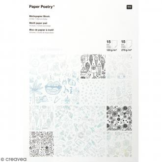 Bloc papier scrap à motif - Hot Foil Iridescent - Magical Summer - 30 feuilles