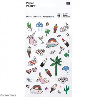 Stickers agenda Magical Summer - Cool  - Irisés - 6 planches