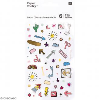 Stickers agenda Magical Summer - Flèches - Irisés - 6 planches