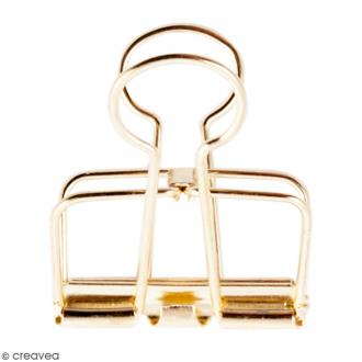 Pinces double clip fil de fer à dessin - Doré - 3,2 cm - 3 pcs