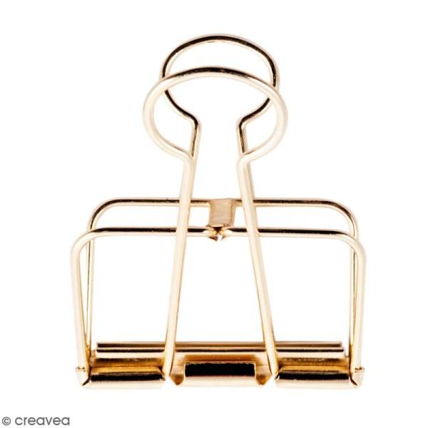 Pince double clip fil de fer à dessin - Doré - 5,1 cm - 1 pce - Photo n°1