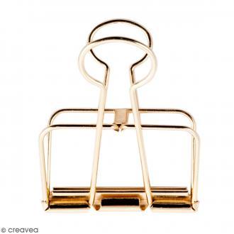 Pince double clip fil de fer à dessin - Doré - 5,1 cm - 1 pce