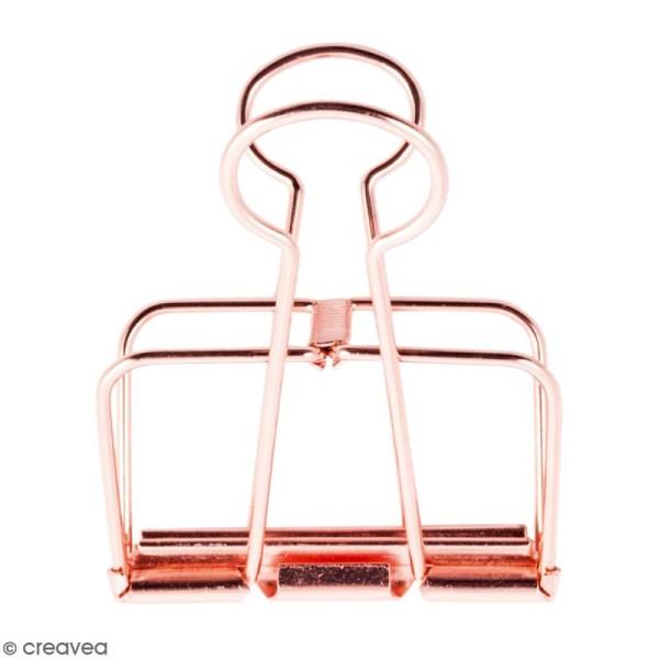 Pince double clip fil de fer à dessin - Rose Gold - 5,1 cm - 1 pce - Photo n°1