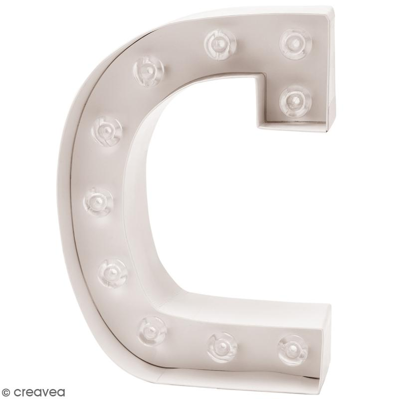 Lettre lumineuse led c 15 x 20 x 5 cm lettre lumineuse led creavea - Lettres lumineuses led ...