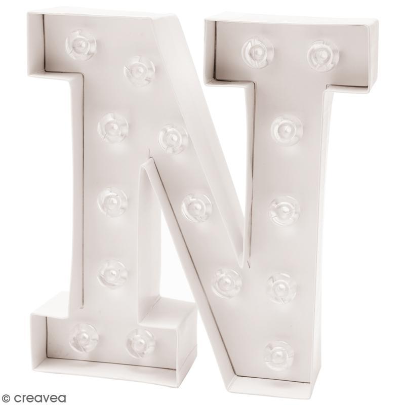 Lettre lumineuse à Led - N - 17 x 20 x 5 cm - Photo n°1