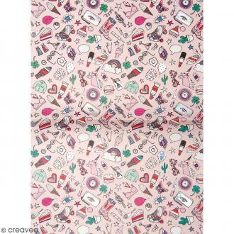 Papier décoratif à l'unité - Magical Summer - 30 x 42 cm - Icônes Rose
